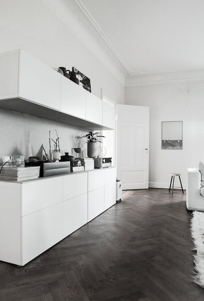 White sideboard in an all white room. Via Darling, be daring.