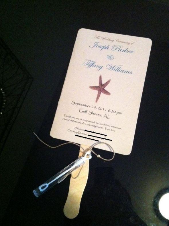 My DIY beach Program Fans :  wedding beach bubbles ceremony diy fan invitations ivory program program fan teal Photo 11