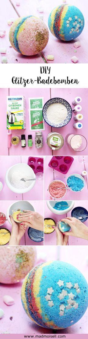DIY Glitzer Badebomben im Lush-Style selber machen: Einfache DIY Anleitung für selbst gemachte Badebomben.