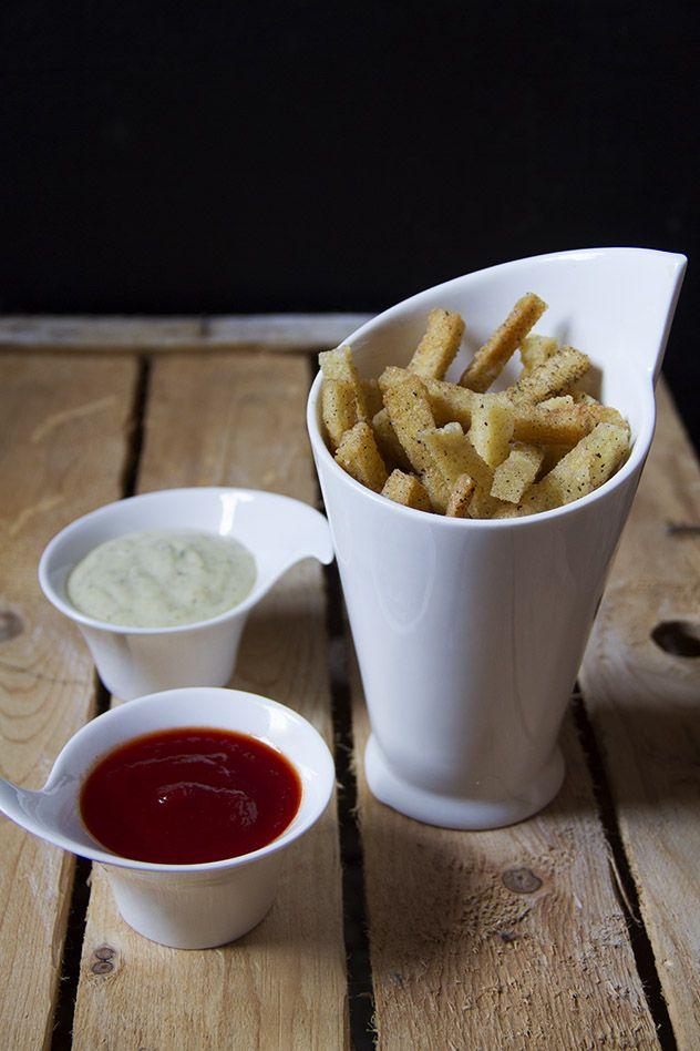 Polenta fritta con ketchup home made & maionese aromatizzata
