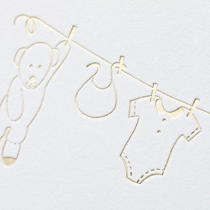 Stork, Meet Crane. Inspired by all things downy and delightful, we celebrate the littlest (future) letter writers with this gold foil clothesline design. New baby smell not included.