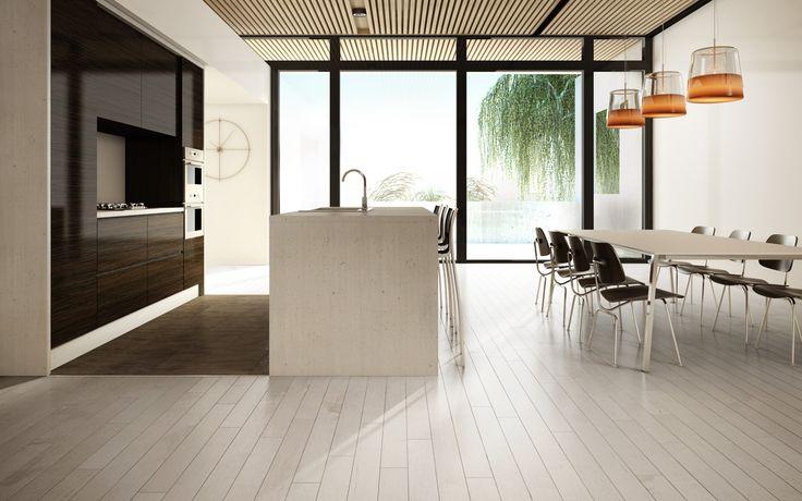 Planchers de bois franc Preverco - Admirable Cuisine laboratoire - Érable, couleur sky