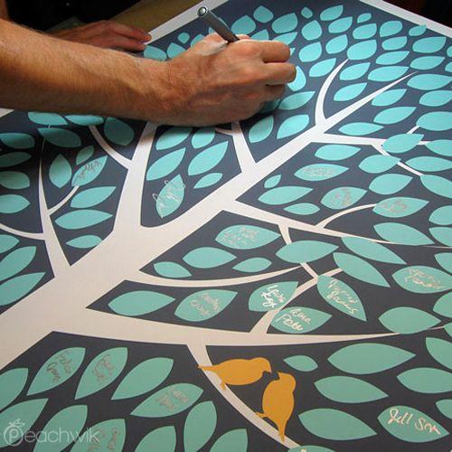 Modwik Wedding Tree Guest Book Alternative | Peachwik | Wedding Colors: Grey Teal Orange | Canvas