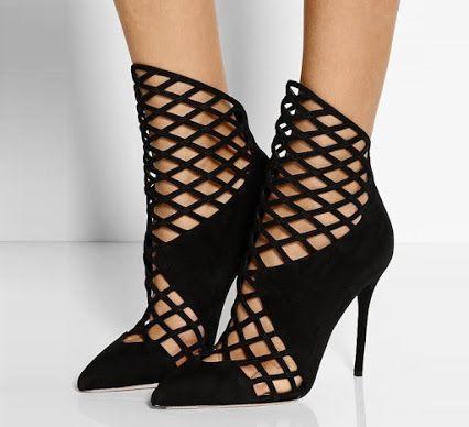 Name: Leila Black Nets Ankle Stiletto Boots Price: $69.99