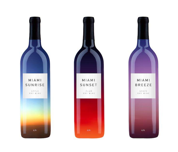 空の色。すてき。 Colorful beautiful gradient wine packaging