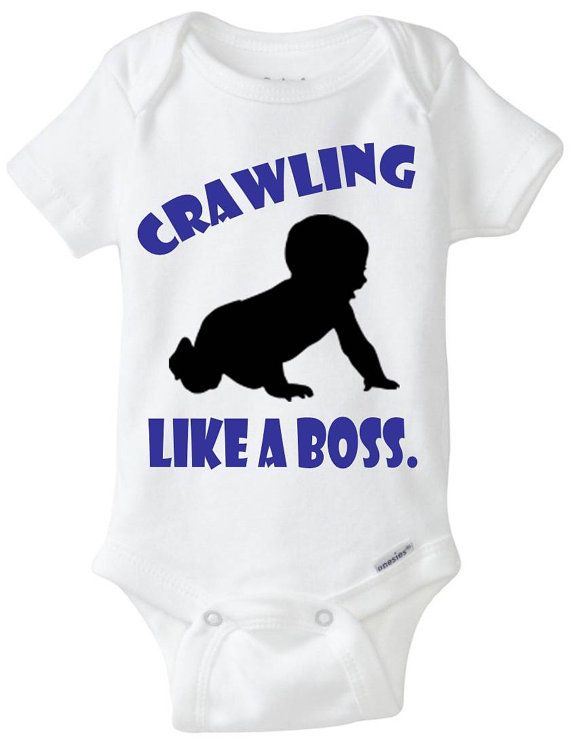 """Funny baby onesie boy gift idea: """"Crawling - Like a Boss"""" new baby / new parent / baby shower gift / black & blue - crawling baby boy"""
