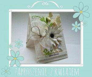 ZAPROSZENIA ŚLUBNE biały kwiat z motylkami  -WZÓR