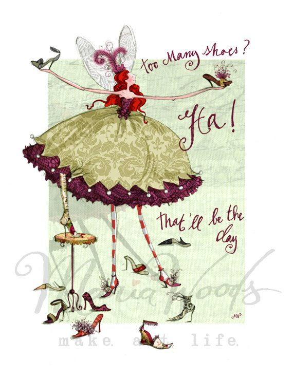 """Quirky fairy """"too many shoes?"""" fine-art print from Maria Woods' Girls' Guide…"""