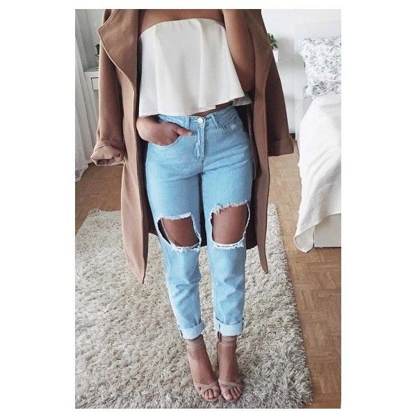 Kyle Ripped Jeans- Light Blue ($43) ❤ liked on Polyvore featuring jeans, light blue ripped jeans, light blue jeans, cropped jeans, distressed cropped jeans and ripped jeans