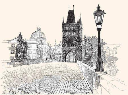 Stáhnout - Praha, Karlův most, Ruční kresba, vektorové ilustrace — Stocková ilustrace #97918220