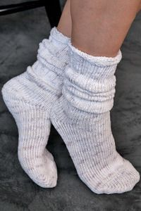 Cotton Rag Bootsock - Thick, marled and cozy, these socks are equally great with boots for stomping about or on their own for lounging.   Rolled tops are non-binding and stay up very well whether you wear them up at your knees or scrunch them down closer to your ankles for a great slouch sock.