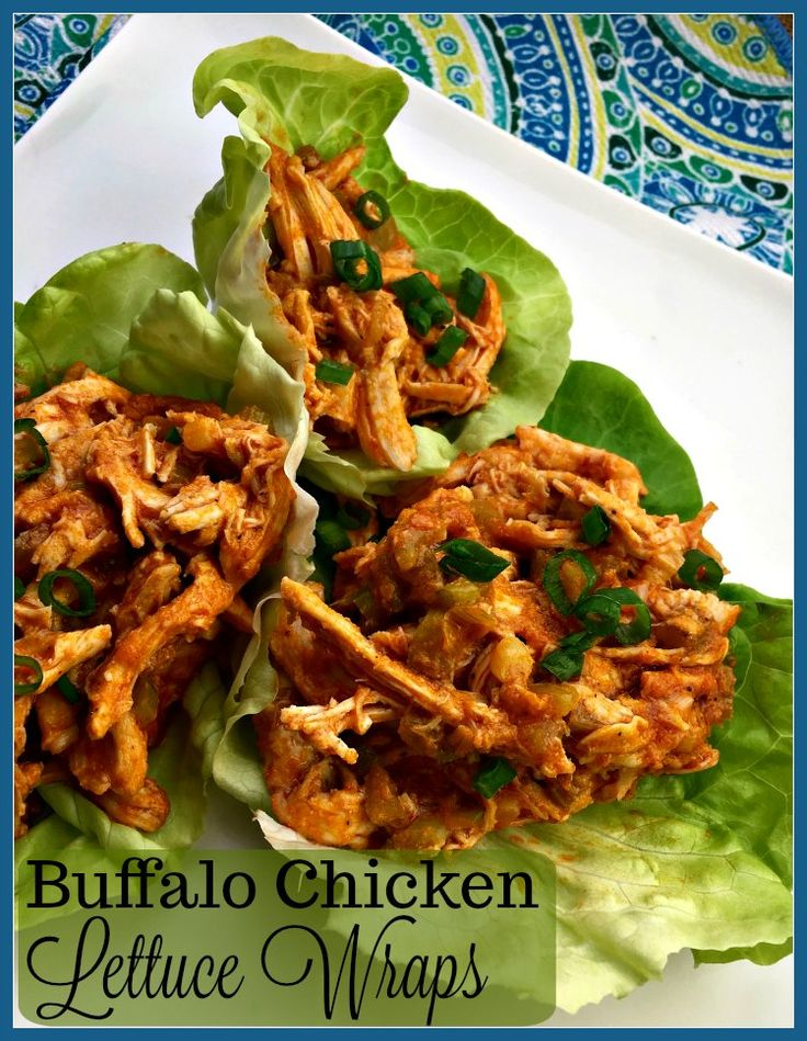 Enjoy all the flavor without the guilt when you eat these Buffalo Chicken Lettuce Wraps.  Whole 30 | Low Carb | Healthy Eating via @LifeBeyondKids