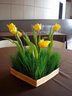 centerpiece of ornamental grass & tulips