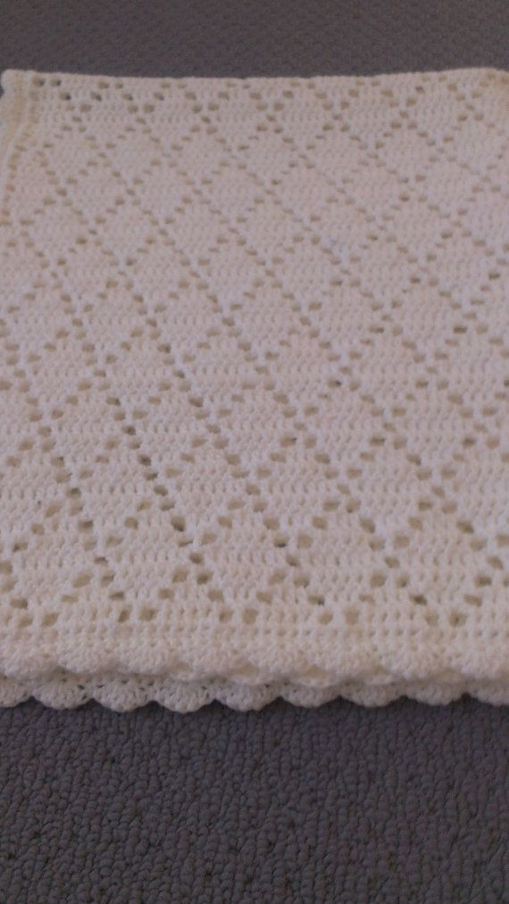Handmade Crochet Pure White Diamond Pattern by AnnaKellyCreations