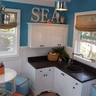 I wish i could redo the inside to look like this need to for Playhouse kitchen ideas