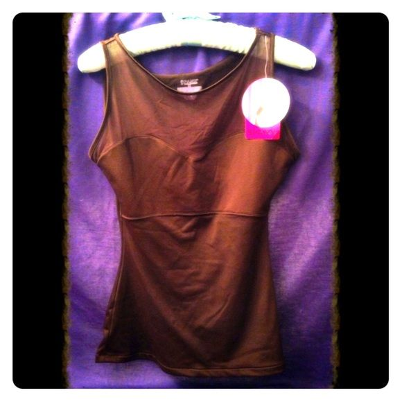 Spanx Hide & Sleek Brown Mesh Bateau tank top Brand new with tags classy brown Spanx Bateau mesh tank top. Purchased from the Spanx store for $46 and never worn. Size medium. SPANX Tops Tank Tops
