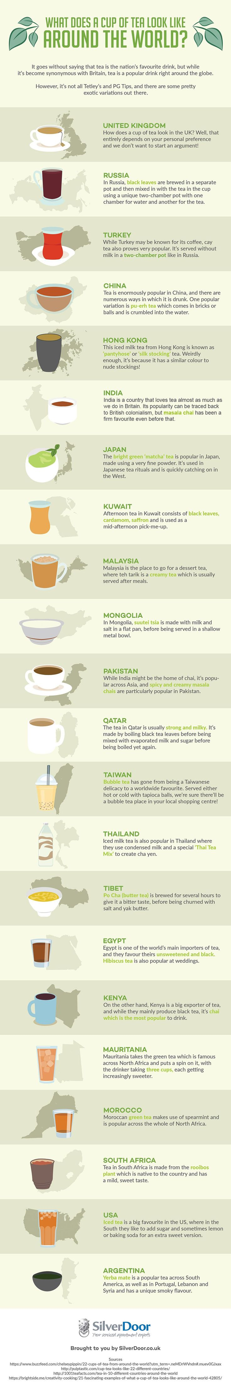 We do love a good brew! This infographic is super cool! Which ones have you tried? What Does A Cup Of Tea Look Like Around The World? #Infographic #Tea #Travel