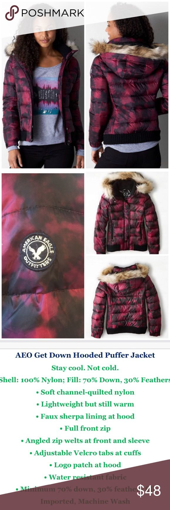 AEO Hooded Faux Fur Puffer, Burgundy, S Excellent condition warm puffer jacket with removable fur. This jacket was only worn twice so it's practically new. Great fall/winter wardrobe essential! American Eagle Outfitters Jackets & Coats Puffers