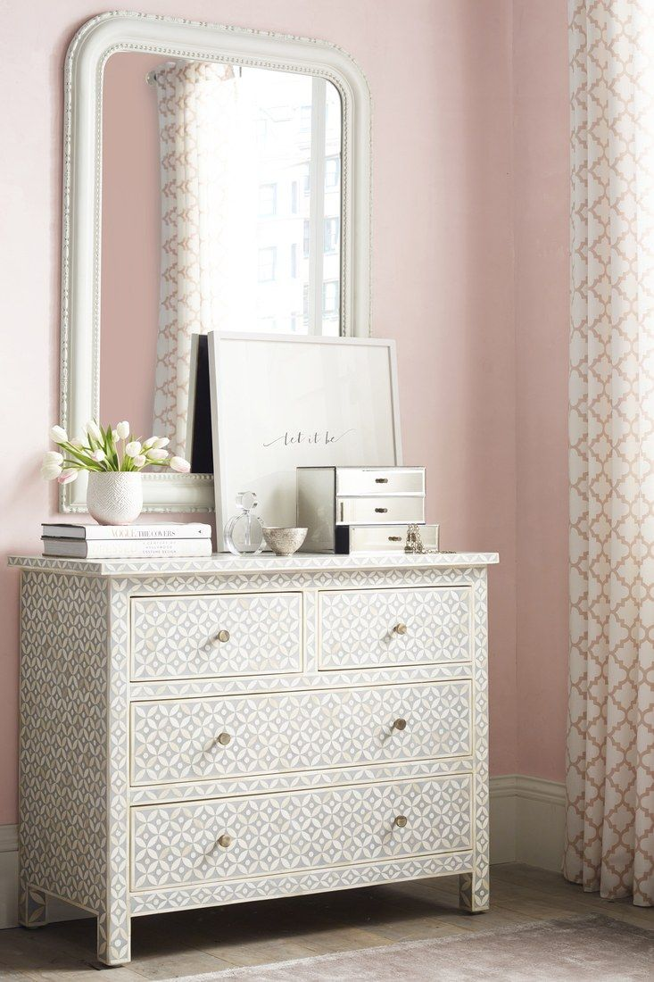 This salma mosaic collection dresser is the perfect complement to any girly space, and the matching nightstands are also available. / Комната девочки подростка от Restoration Hardware, туалетный столик, комод, коллекция RH Teen, Restoration Hardware teen's room girl, нежный интерьер RH, cozy RH interior, мебель, спальня, дизайн детской, girl's bedroom, furniture, Restoration Hardware Collection #idcollection #детская