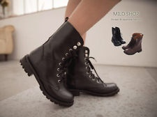 NEW HOT Girls Womens Korean Japanese Fashion Style Flat Boots Shoes Brown Black