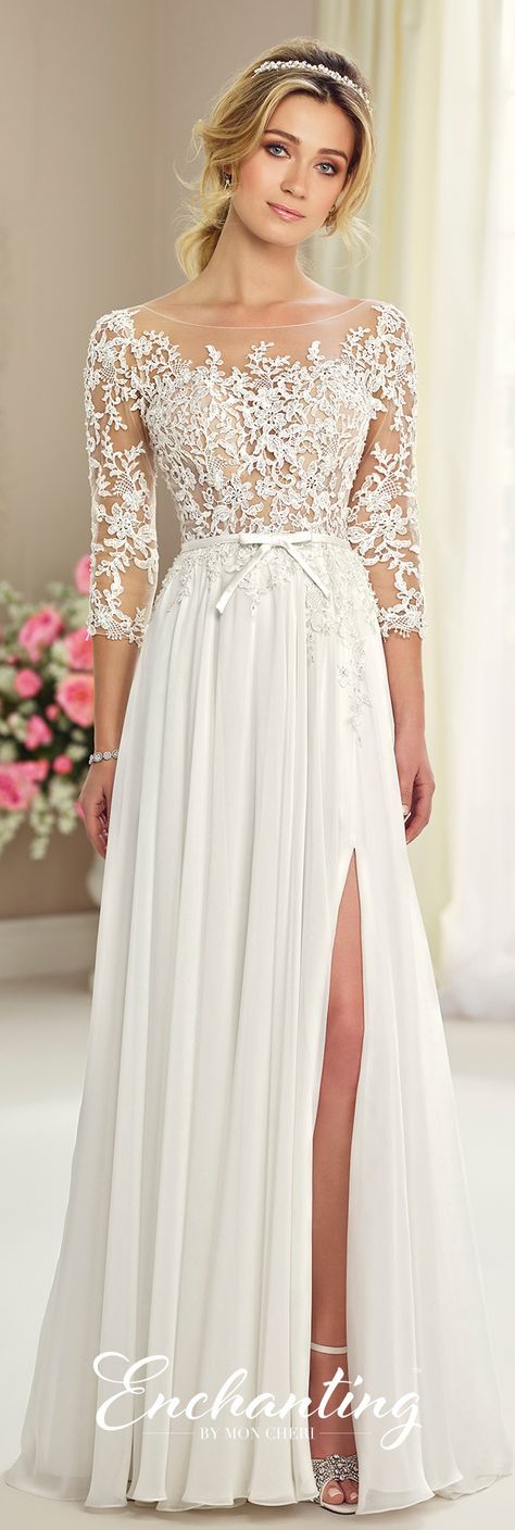Enchanting by Mon Cheri Fall 2017 Collection - Style 217108 - chiffon wedding dress with llusion lace bodice and three-quarter length sleeves with deep scooped back