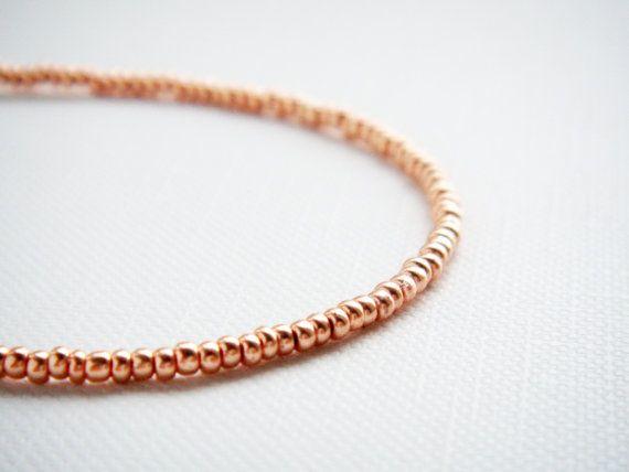 Rose gold tiny beaded bracelet friendship bracelet by juditpukkai Use coupon code on Etsy: PIN10 to get 10% discount :-)