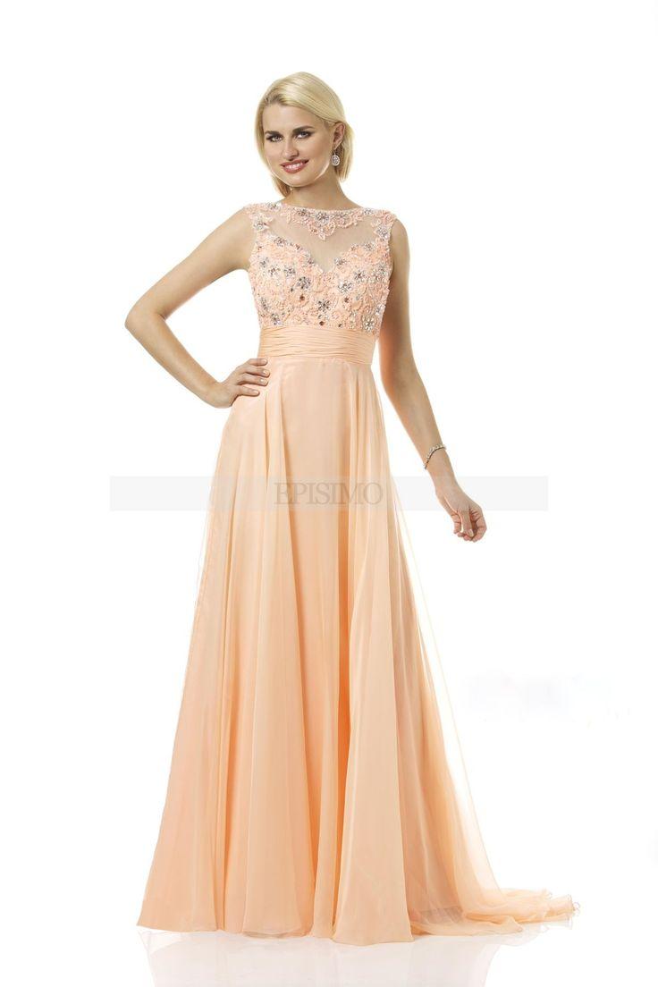Βραδινό φόρεμα Peach - Temptation - Επίσημα Φορέματα