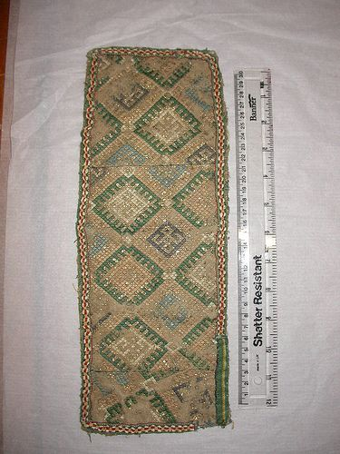 1300s - still putting in in the 13th embroidery as the pattern fits ones from the 13th century Textile. Museum no. 1261-1864.
