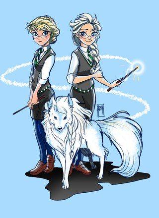 Super Anna Elsa hogwarts | frozen # elsa # anna # hogwarts elsa anna as animagus in hogwarts<~ she's a ravenclaw though.