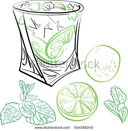 Hand drawn vector illustration of cocktail. Vector isolated element