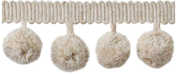 Jones Coastal Trimming Collection Pom Pom Fringe, Natural Linen