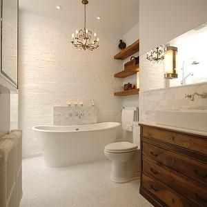 Brick Wall in Bathroom- Transitional, bathroom, Lake Jane