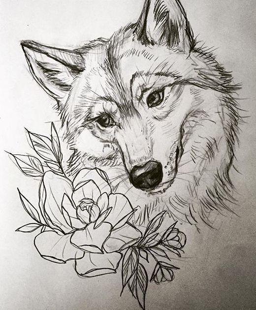 Эскиз тату с волком и цветами