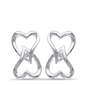 Forever Heart, 1/100 ctw Diamond Accent Earrings in Sterling Silver