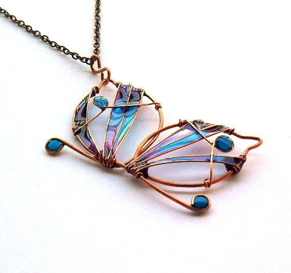 Copper butterfly long necklace purple by ThePurpleBalloon on Etsy, $29.00