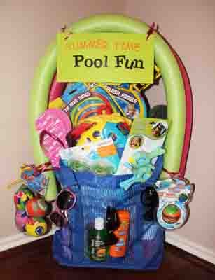Pool fun (googles, dive sticks and other toys, float, beach ball, sunglasses, snacks)