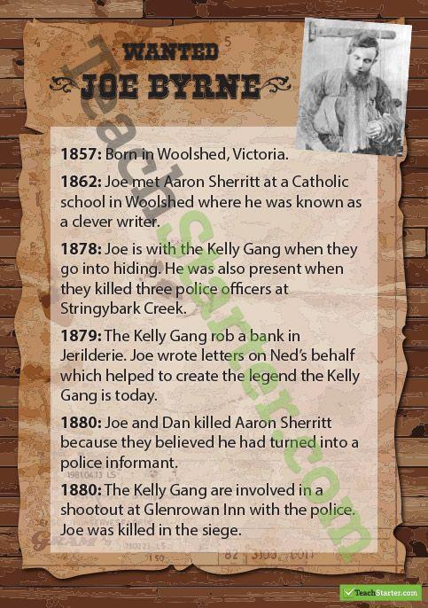 Kelly Gang Wanted Posters - Joe Byrne