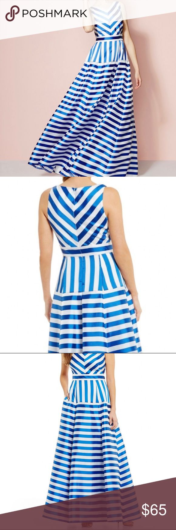 Eliza J V-Neck jacquard Striped Ball Gown - sz 6 From Eliza J, this ballgown features: V-neckline Sleeveless Center back zipper closure Inset waist Polyester/nylon/acetate  Size 6. Fits true to size Brand new without tags Eliza J Dresses Maxi