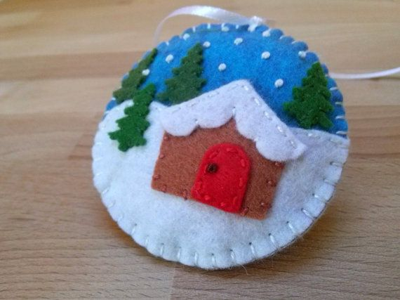 Felt christmas ornament Christmas village snow by DusiCrafts