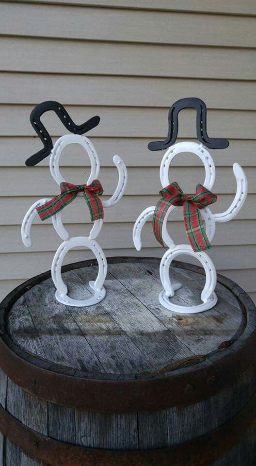 Welding project horseshoe rustic snowman country