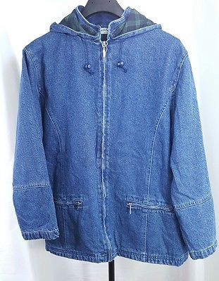North Style Women's Zip Up Blue Jean Plaid Lined Denim Hooded Jacket 2 Pocket XL