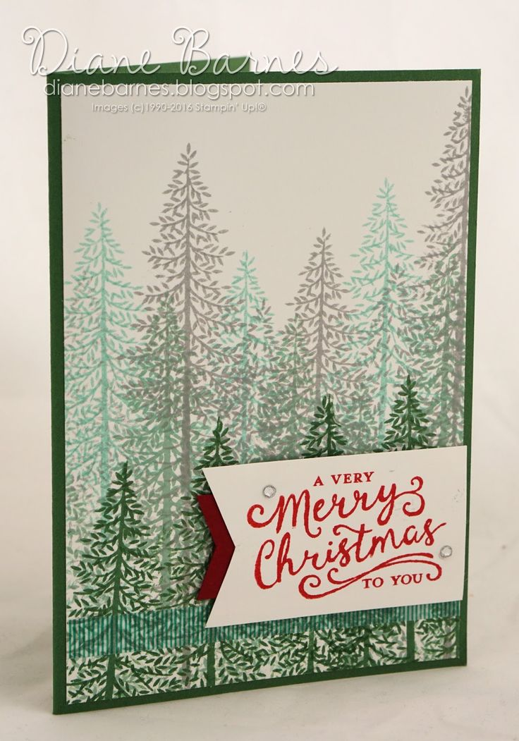 Christmas card using Stampin Up Thoughtful Branches bundle & Reason for the…