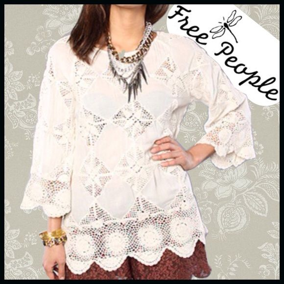 Free People Crochet Tunic 100% rayon All-over crochet detail Belled sleeves Partially sheer fabric Hand wash cold Free People Tops Tunics