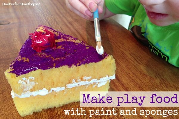 Pretend play food made from sponges and paint