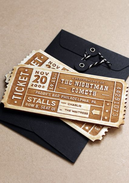 PERSONALISED TICKET - EVENT £25.00 Buying somebody a theatre ticket nowadays usually involves an A4 print out in an envelope and we think that the theatre deserves more! So why not make your very own, personalised tickets to give? You can add all the event details, as well as your names, and make a beautiful one of a kind keepsake for your loved ones to remember forever. It's way more fun that a forwarded email confirmation!