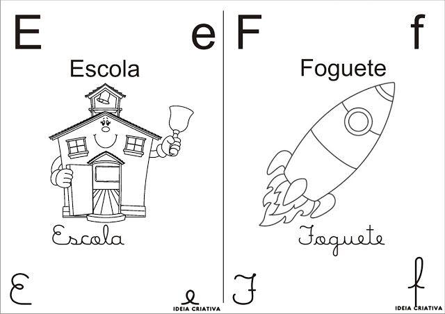 Alfabeto Para Colorir 4 Tipos De Letra Meio Oficio Com Imagens