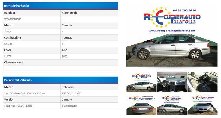 BMW SERIE 3 BERLINA (E46) 320D 2.0 16V DIESEL CAT (150 CV) | 09.01 - 12.06