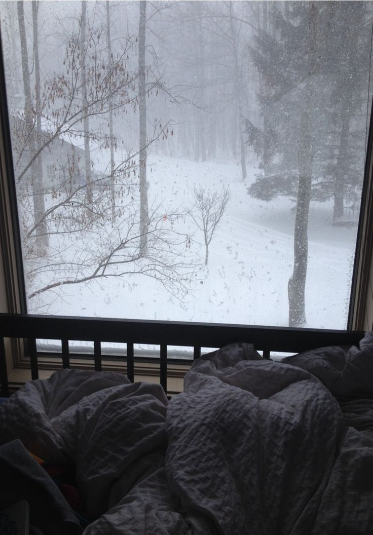 Wrapped in your duvet looking out at the snow - heaven! (if you don't have to go anywhere) #winter