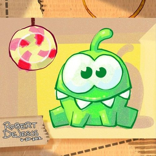 Illustration of Om Nom from Cut The Rope app game.  You can view the speed paint version on my Youtube channel: Banzchan.  #cuttherope #game #app #omnom #smartphone #zeptolab #illustation #artrage #digitalsketch #digitalart