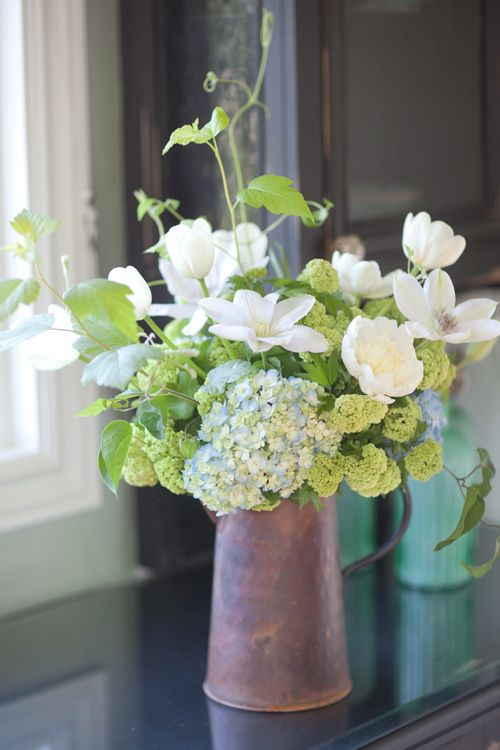 hydrangea, peonies, clematis in copper pitcherWhite Flower, White Green, Mason Jars